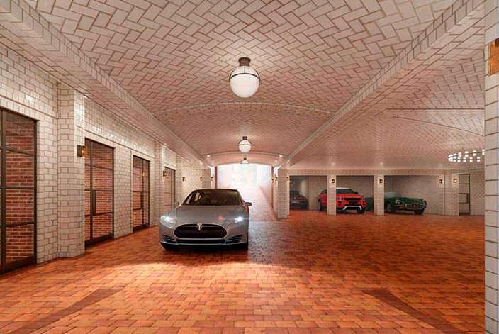 Подземный паркинг в здании 443 Greenwich Street в Нью-Йорке
