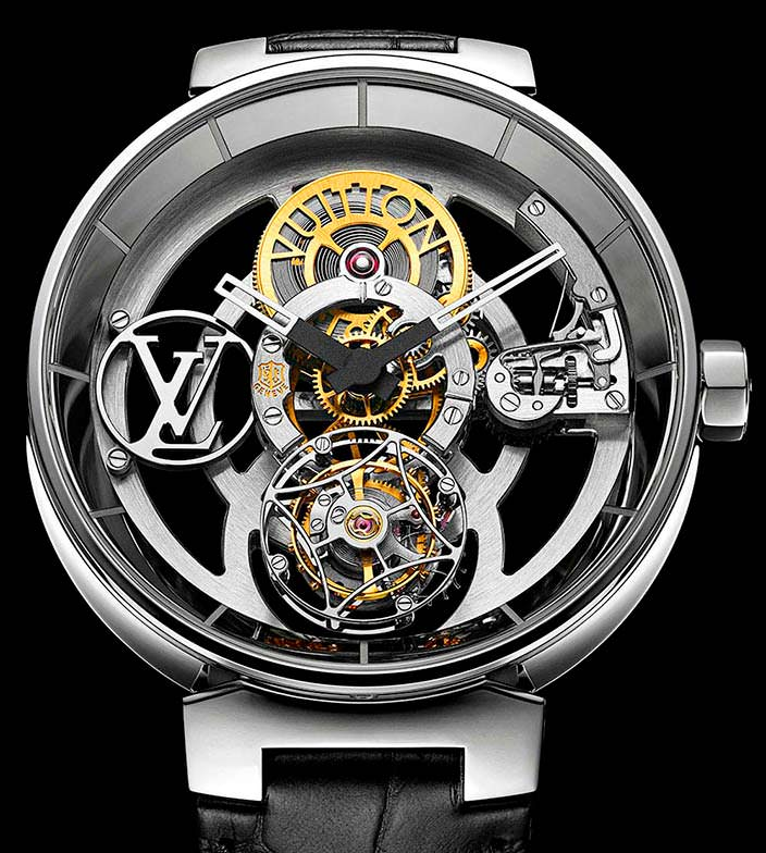 Платиновые часы-скелетоны Louis Vuitton Tambour Moon