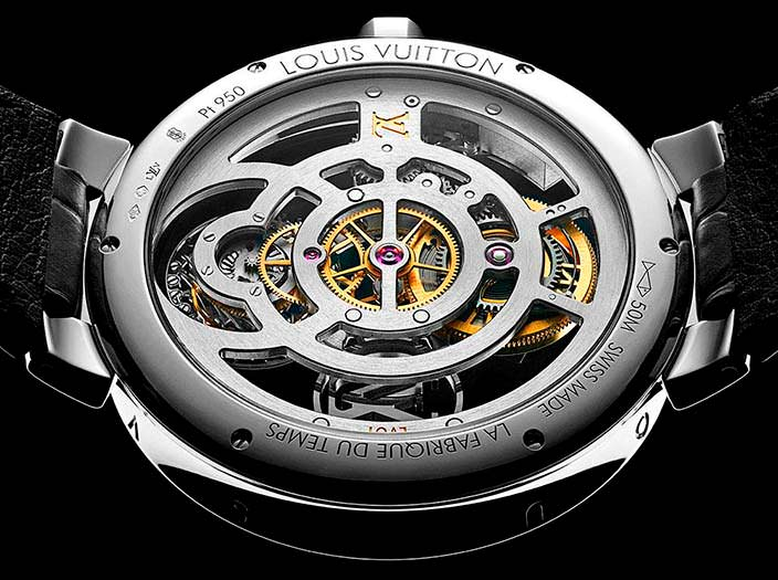 Платиновые скелетоны Louis Vuitton Tambour Moon