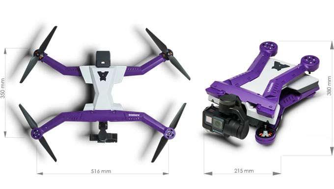 Габаритные размеры дрона AirDog ADII