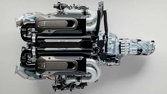 Модель двигателя Bugatti Chiron. 6,0-литра, W16