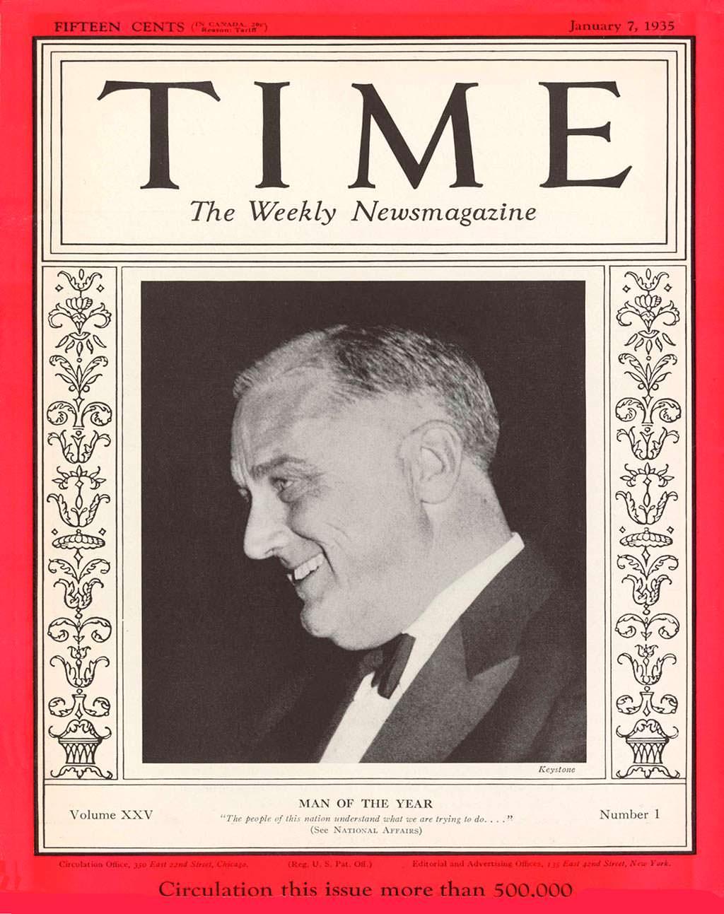 1934 год. Президент США Франклин Рузвельт на обложке Time