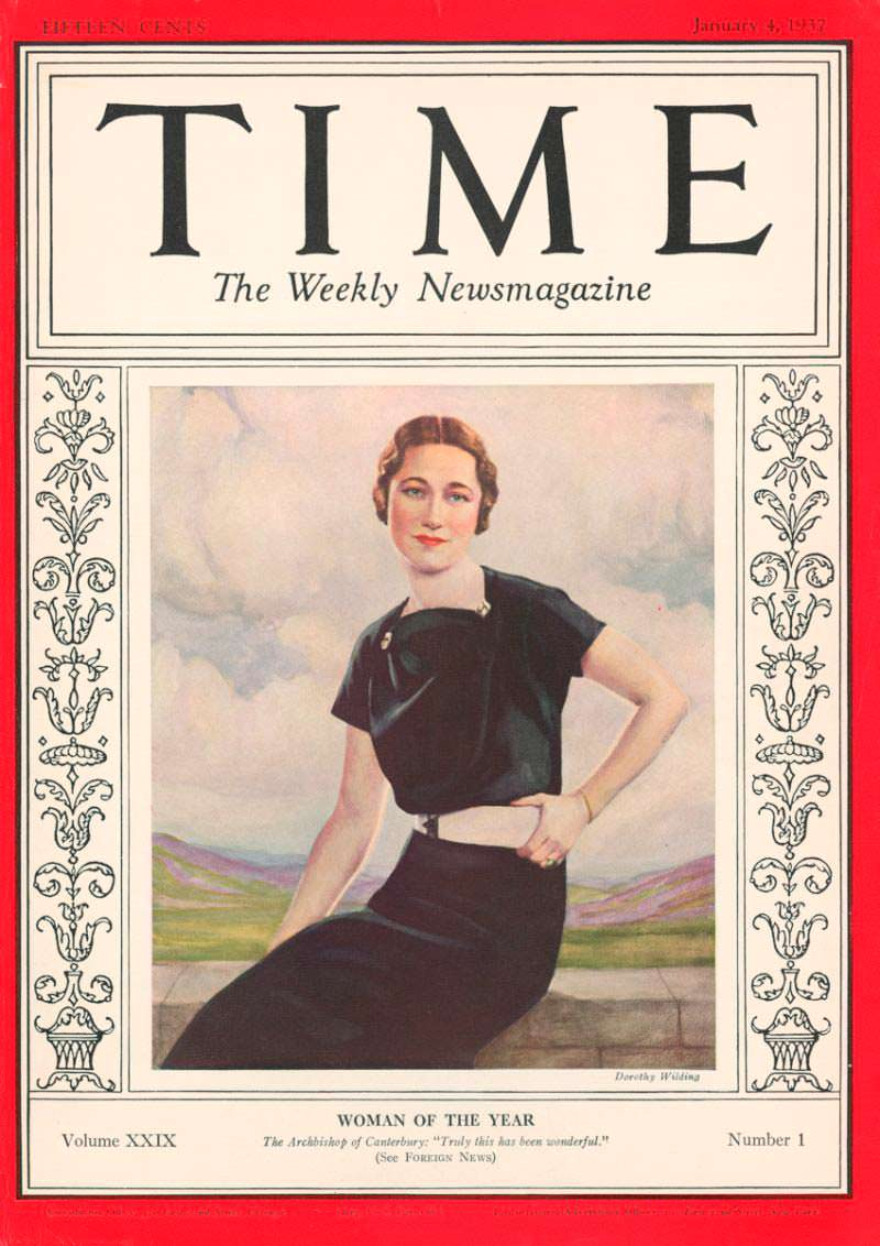 1936 год. Уоллис Симпсон на обложке Time