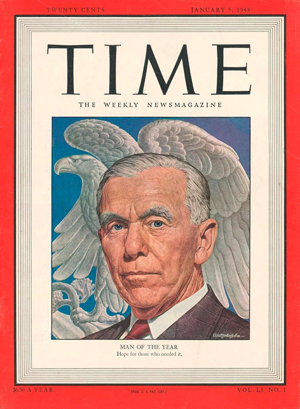 1947 год. Госсекретарь США Джордж Маршалл на обложке Time
