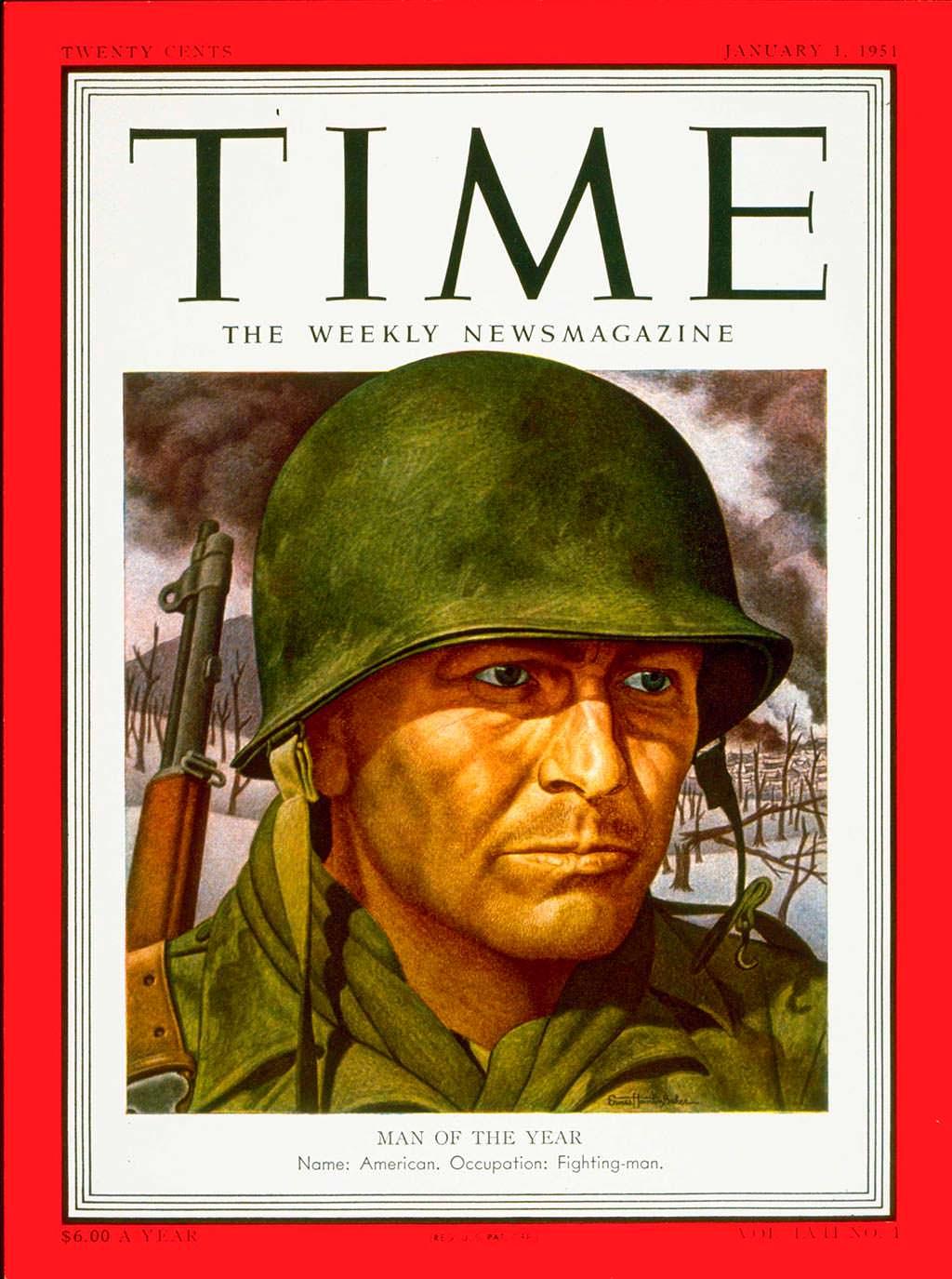 1950 год. Американский солдат на обложке Time
