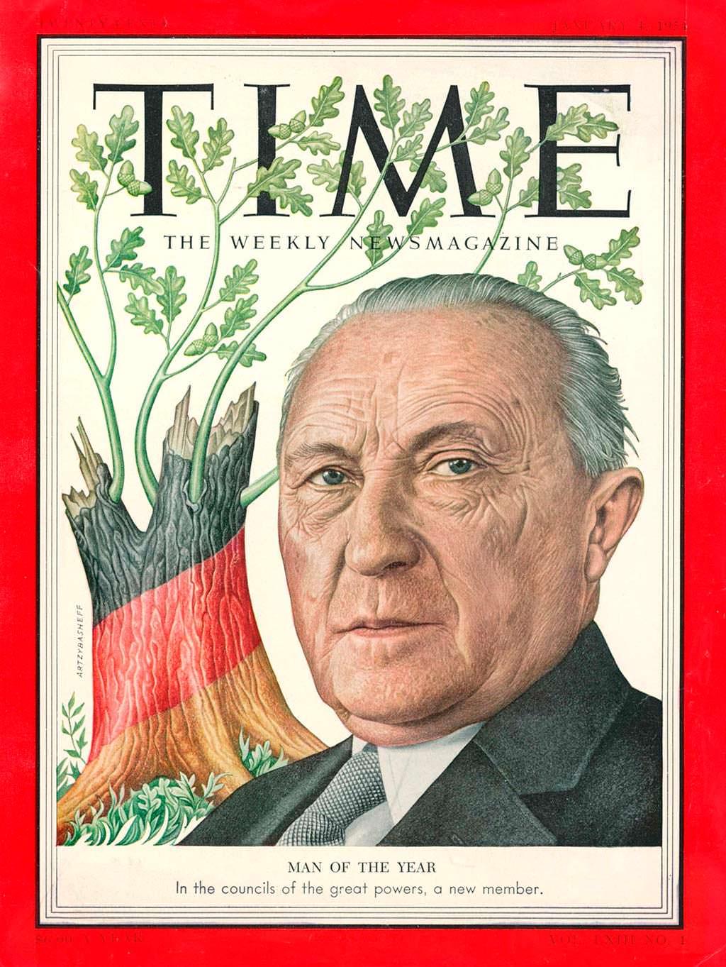 1953 год. Канцлер ФРГ Конрад Аденауэр на обложке Time