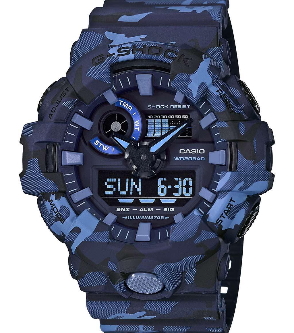 Камуфляжные часы Casio G-Shock GA700CM-2A. Цвет темно-синий