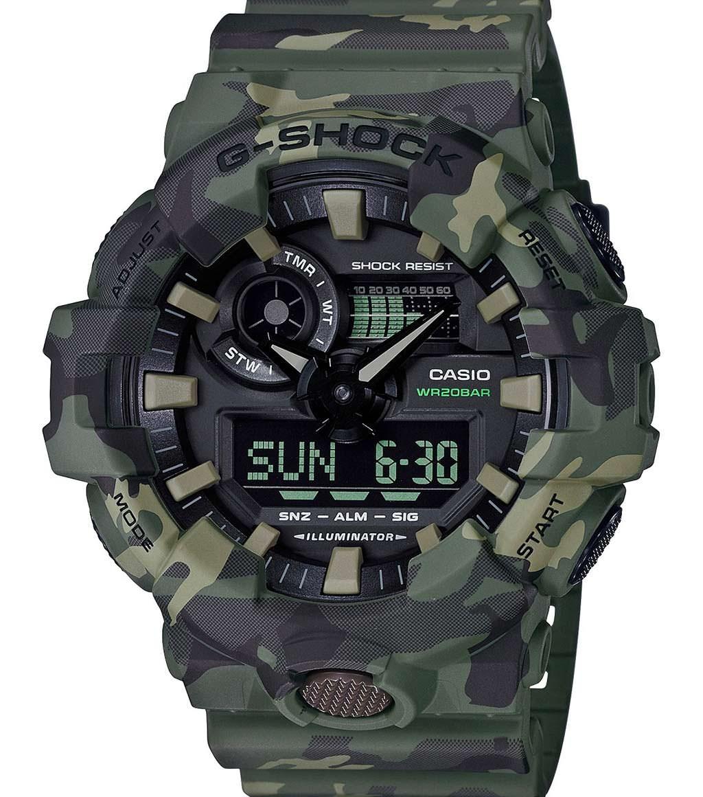 Камуфляжные часы Casio G-Shock GA700CM-3A. Цвет армейский зеленый