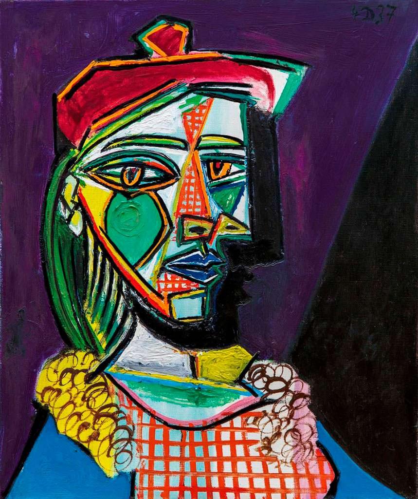 Femme au béret et à la robe quadrillée. Картина Пикассо 1937 г.
