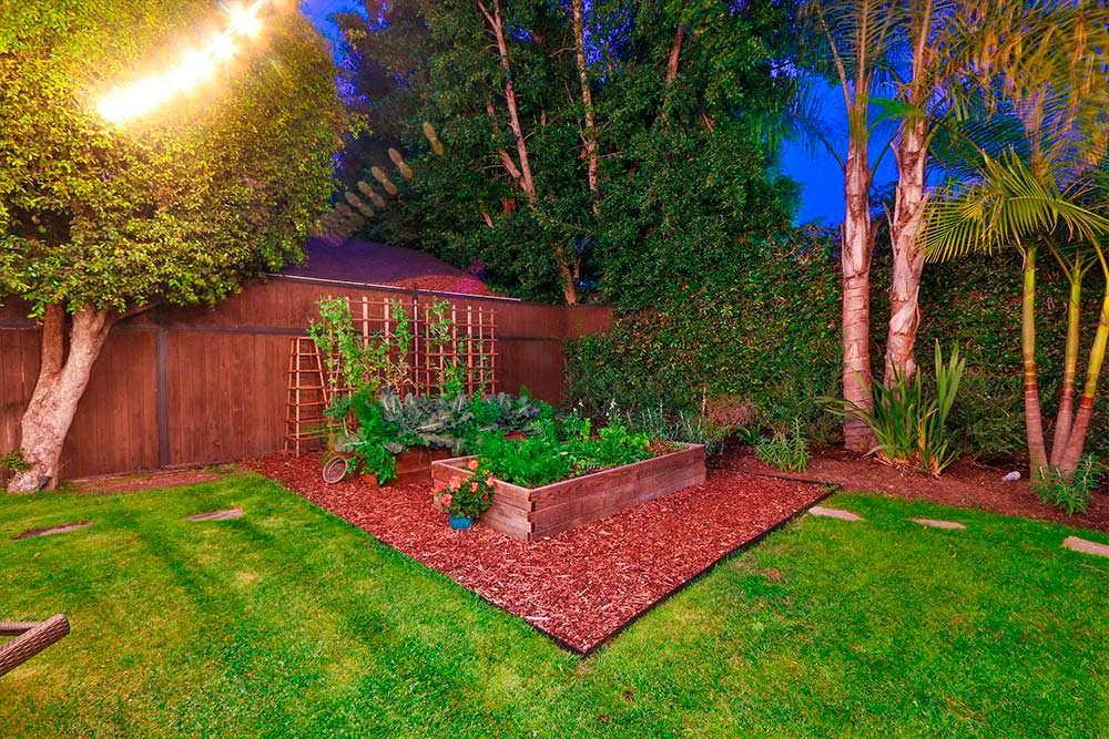 Живая изгородь и грядки на заднем дворе