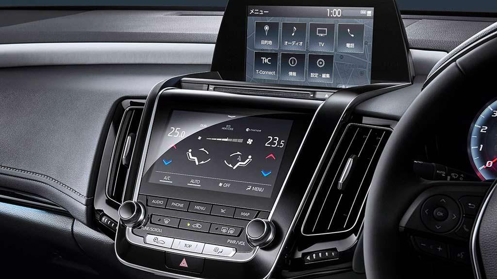 Два экрана на центральной консоли Toyota Crown 2018