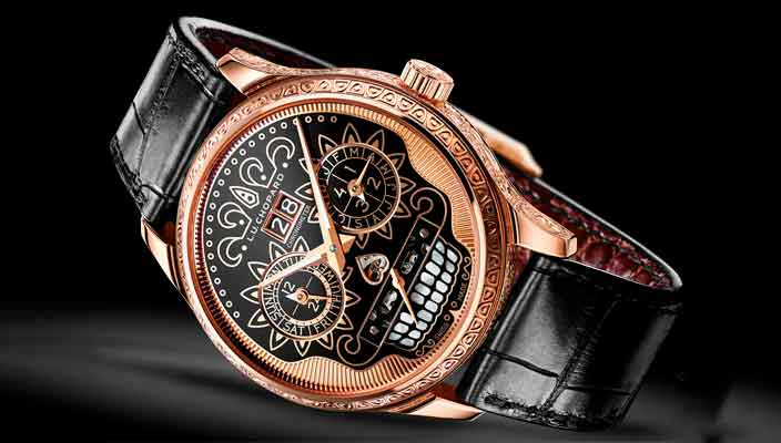 Золотые часы ручной работы в честь Праздника мертвых от Chopard