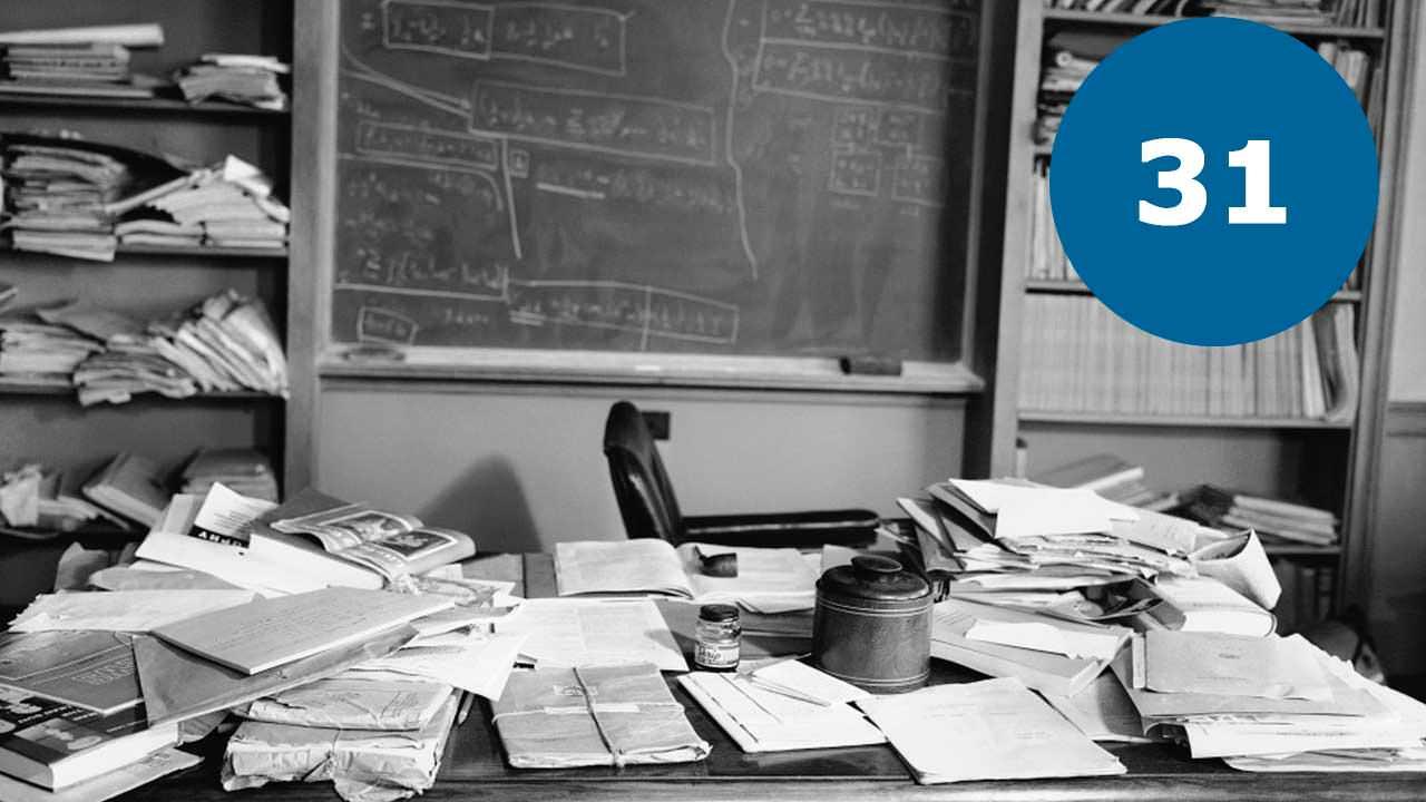 Робочий безлад на столі Ейнштейна