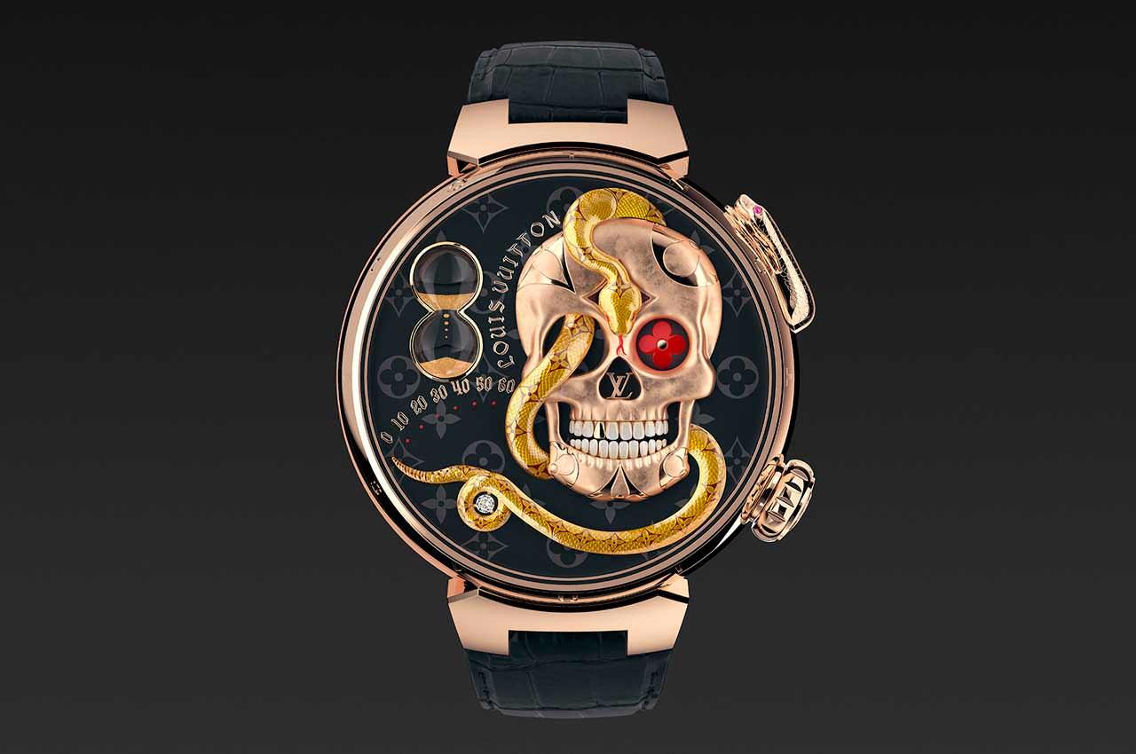 Louis Vuitton сделал золотые часы с черепом и змеёй на циферблате